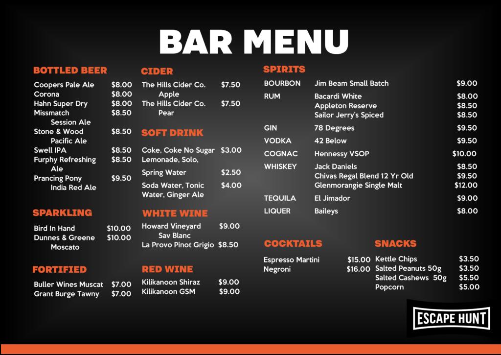 escape hunt adelaide bar menu