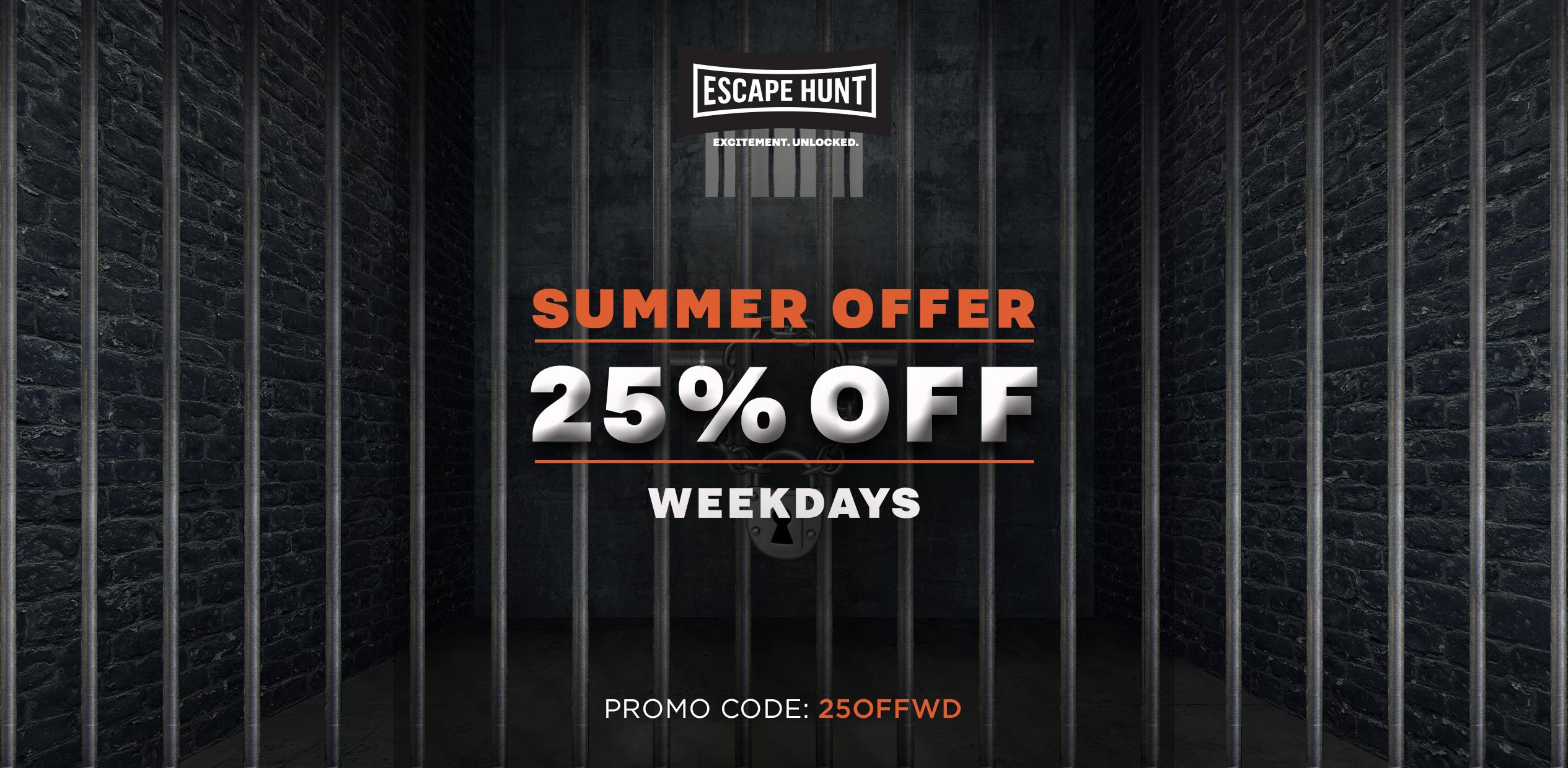 25% OFF WEEKDAY BOOKINGS